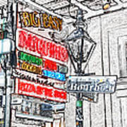 Colorful Neon Sign On Bourbon Street Corner French Quarter New Orleans Colored Pencil Digital Art Art Print