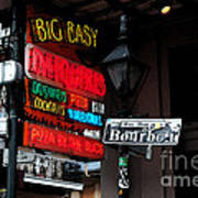 Colorful Neon Sign On Bourbon Street Corner French Quarter New Orleans Watercolor Digital Art Art Print