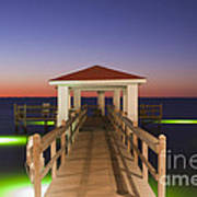 Colorful Sunrise With Fishing Pier At The Texas Gulf Coast Art Print