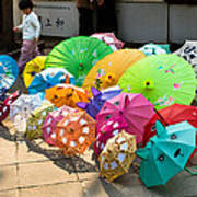 Colorful Umbrellas Art Print by John Wong