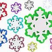 Coloured Snowflakes Isolated Art Print