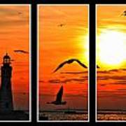 Coming Home Sunset Triptych Series Art Print