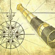 Compass And Monocular Art Print