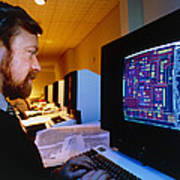 Computer-aided Design Of A Silicon Chip Art Print by David Parkerseagate Microelectronics Ltd