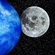 Computer Artwork Of Full Moon And Earth's Limb Art Print