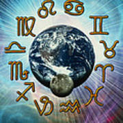 Computer Artwork Of The Zodiac Signs Around Earth Art Print