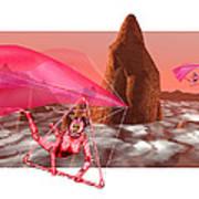 Computer Artwork Of Women Hang-gliding On Mars Art Print