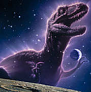 Conceptual Art Of A Ghostly Dinosaur Over The Moon Art Print by Joe Tucciarone