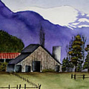 Concrete Barn Watercolor Art Print