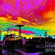 Coney Island In Neon B Flat Minor Art Print