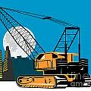 Construction Crane Hoist Retro Art Print