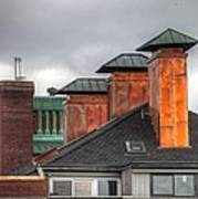 Copper-lined Chimneys On A Grey Sky Print by Matthew Green