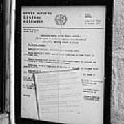 copy of the UN general assembly resolution about the missing persons in cyprus  Art Print