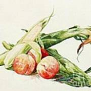Corn And Peaches Art Print
