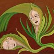 Corn Love Fantastic Realism Faces In Green Corn Leaves Sleeping Or Dead Loving Or Mourning Gree Art Print