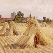 Corn Stooks By Bray Church Art Print by Heywood Hardy