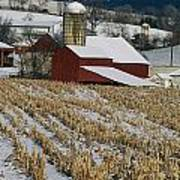 Corn Stubble And Barn In A Wintery Art Print