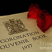 Coronation Book With Roses Art Print