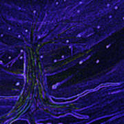 Cosmic Tree Blue Art Print