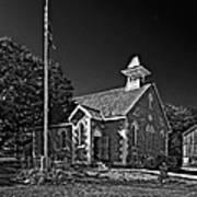 Country Church Monochrome Art Print