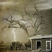 Country Horses Lightning Storm Ne Boulder Co 66v Bw Art Art Print