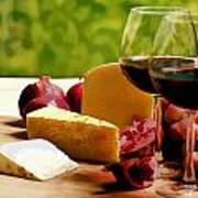 Countryside Wine  Cheese And Fruit Art Print by Elaine Plesser