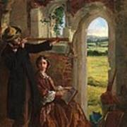 Couple Observing A Landscape Art Print by English School