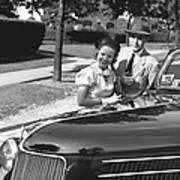 Couple Posing At Open Top Car, (b&w), Portrait Art Print by George Marks