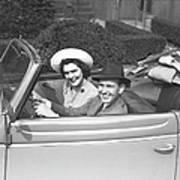 Couple Riding In Old Fashion Convertible Car, (b&w),, Portrait Art Print