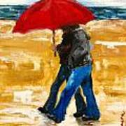 Couple Under A Red Umbrella Art Print