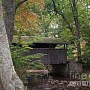 Covered Bridge By The Cottage  Art Print
