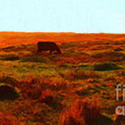 Cow Grazing In The Hills Art Print by Wingsdomain Art and Photography