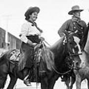 Cowboy And Cowgirl, C1908 Art Print