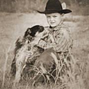 Cowboy And Dog Art Print