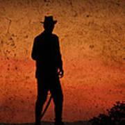Cowboy At Sunset Art Print