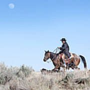Cowboy Desert Moon Art Print by Cindy Singleton
