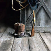 Cowboy Hat Boots Lasso And Rifle Art Print