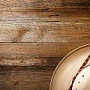 Cowboy Hat On Wood Art Print