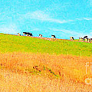 Cows On A Hill . 40d3430 . Painterly . Long Cut Print by Wingsdomain Art and Photography