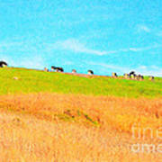 Cows On A Hill . 40d3430 . Painterly Art Print