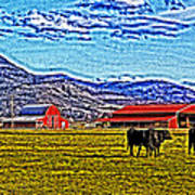Cows Pasture Barns Superspecialeffect Art Print