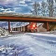 Cp Rail Coal Train Under Bridge Hdr Art Print