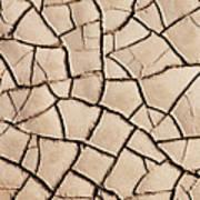 Cracked Earth On Desert Floor Bed Art Print
