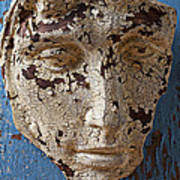 Cracked Face On Blue Wall Art Print