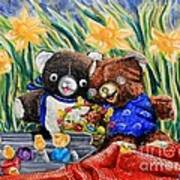 Cracky Bear And Little Boy Bear  So Happy Together Art Print