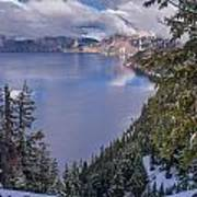 Crater Lake And Approaching Clouds Art Print
