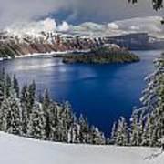 Crater Lake And Fresh Snow Panorama Art Print