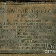 Crawford Scott Historical Marker Art Print