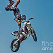 Crazy Motorcycle Rider Art Print