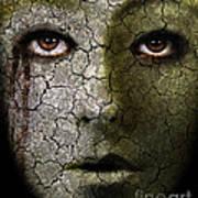 Creepy Cracked Face With Tears Art Print